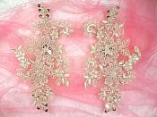 "Embroidered Lace Applique Mirror Pair Floral design accented w/ Sequins and Beads Champagne Color 7"" (DH50)"