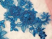 """Embroidered Lace Applique Mirror Pair Floral design accented w/ Sequins and Beads Dark Turquoise Color 7"""" (DH50)"""