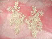 "Embroidered Lace Applique Mirror Pair Floral design accented w/ Sequins and Beads Ivory Color 7"" (DH50)"