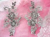 "Embroidered Lace Applique Mirror Pair Floral design accented w/ Pewter Sequins and Beads Grey Silver Color 7"" (DH50)"