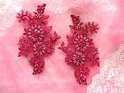 "Embroidered Lace Applique Mirror Pair Floral design accented w/ Sequins and Beads Burgundy Wine Color 7"" (DH50)"