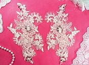 "Embroidered Lace Applique Mirror Pair Floral design accented w/ Sequins and Beads Pink Color 7"" (DH50)"