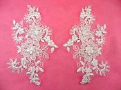 "Mirror Pair Appliques White Floral Venise Lace Beaded Crystal Sequin 7"" (DH50X-wh)"