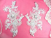 "Mirror Pair Appliques White Floral Venise Lace Beaded Silver Sequin 7"" (DH50X-whsl)"