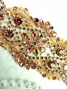 """DH54 Bridal Applique Rose Gold Rhinestone Peach Beaded With Colored Pearls 6"""""""