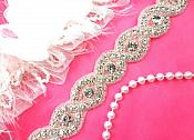 "Iron On Trim Silver Beaded Crystal Rhinestone Glass Bridal Banding 1"" (DH58-slcr)"