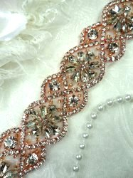 DH62 Crystal Glass Rhinestone Trim Clear With Rose Gold Settings And Beads Iron On 1.5""
