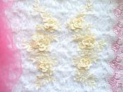 "3D Lace Appliques Buttercream Yellow Floral Embroidered Mirror Pair 10.5"" (DH65X)"
