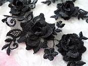 "3D Lace Appliques Black Floral Embroidered Mirror Pair 10.5"" (DH65X)"