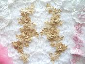 "3D Lace Appliques Gold Beige Floral Embroidered Mirror Pair 10.5"" (DH65X)"