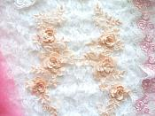 "3D Lace Appliques Peach Floral Embroidered Mirror Pair 10.5"" (DH65X)"