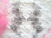 "3D Lace Appliques Pewter Silver Floral Embroidered Mirror Pair 10.5"" (DH65X)"
