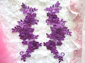 """3D Lace Appliques Purple Floral Embroidered Mirror Pair 10.5"""" (DH65X)"""