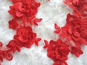 """3D Lace Appliques Red Floral Embroidered Mirror Pair 10.5"""" (DH65X)"""