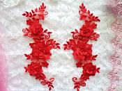 "3D Lace Appliques Red Floral Embroidered Mirror Pair 10.5"" (DH65X)"