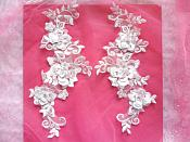 "3D Lace Appliques White Floral Embroidered Mirror Pair 10.5"" (DH65X)"