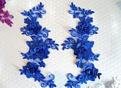 "3D Lace Appliques Blue Floral Venice Lace Mirror Pair 10.5"" (DH65X)"