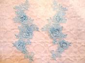 """3D Lace Appliques Light Blue Floral Venice Lace Mirror Pair 10.5"""" (DH65X)"""