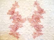 """3D Lace Appliques Mauve Floral Venice Lace Mirror Pair 7"""" (DH65X)"""