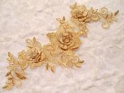"""3D Lace Applique Gold Floral Venice Lace Motif 10.5"""" (DH66)"""