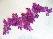 """3D Lace Applique Purple Floral Venice Lace Motif 10.5"""" (DH66)"""
