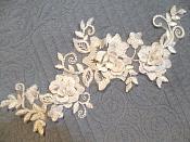 """3D Lace Applique White Floral Venice Lace Motif 10.5"""" (DH67)"""