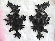 """3D Embroidered Lace Appliques Black Floral Venice Lace Mirror Pair 8.25"""" Beautiful (DH68X)"""