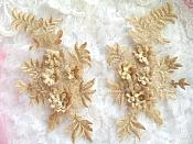 "3D Embroidered Appliques Gold Beige Floral Venice Lace Mirror Pair 8.25"" Beautiful (DH68X)"