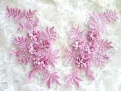 "3D Embroidered Appliques Lavender Floral Venice Lace Mirror Pair 8.25"" (DH68X)"