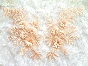 "3D Embroidered Lace Appliques Peach Floral Venice Lace Mirror Pair 8.25"" Beautiful (DH68X)"