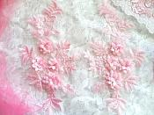 """3D Embroidered Lace Appliques Pink Floral Venice Lace Mirror Pair 8.25"""" Beautiful (DH68X)"""