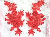 """3D Embroidered Lace Appliques Red Floral Lace Mirror Pair 8.25"""" Beautiful (DH68X)"""