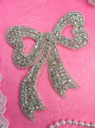 DH7 Silver Beaded Bow Crystal Rhinestone Applique 4.75""