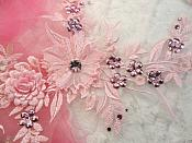 "Embroidered 3D Applique Pink Floral Sequin Patch Rhinestone Center 14"" (DH70)"
