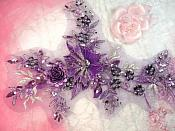 """Embroidered 3D Applique Purple Floral Sequin Patch Rhinestone Center 14"""" (DH70)"""