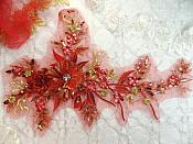 "Embroidered 3D Applique Red Gold Floral Sequin Patch Rhinestone Center 14"" (DH70)"