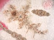 "Embroidered 3D Applique Rose Gold Champagne Floral Sequin Patch Rhinestone Center 14"" (DH70)"