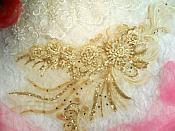 "Embroidered 3D Applique Beige Gold Floral Sequin Patch Rhinestone Accented 20"" (DH71)"