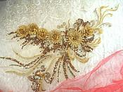 "Embroidered 3D Applique Bronze Gold Floral Sequin Patch Rhinestone Accented 20"" (DH71)"