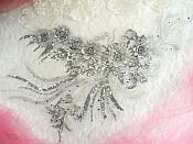 "Embroidered 3D Applique Silver Floral Sequin Patch Rhinestone Accented 20"" (DH71)"
