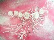"Embroidered 3D Applique White Floral Sequin Patch Rhinestone Accented 20"" (DH71)"