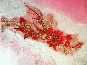 "Embroidered 3D Applique Red Gold Floral Sequin Patch  13"" (DH72)"