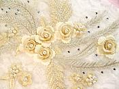 "Embroidered 3D Appliques Beige Floral Mirror Pair Fabulous Detail w/ Pearls 13"" (DH76X)"