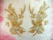 "Embroidered 3D Appliques Gold Metallic Floral Mirror Pair Fabulous Detail w/ Pearls 13"" (DH76X)"