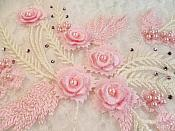 """3D Embroidered Appliques Pink Ivory Floral Mirror Pair Fancy Detail w/ Pearls 13"""" (DH76X)"""