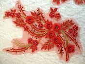 """Embroidered 3D Appliques Red Gold Metallic Floral Mirror Pair Fabulous Detail w/ Pearls 13"""" (DH76X)"""