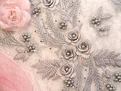 "Embroidered 3D Appliques Silver Metallic Floral Mirror Pair Fabulous Detail w/ Pearls 13"" (DH76X)"