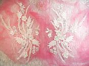 "Embroidered 3D Appliques White Floral Mirror Pair Fabulous Detail 13"" (DH76X)"