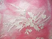 "Embroidered 3D Applique White Floral w/ Pearls Ballet Costume or Bridal Gown Motif  13"" (OSDH76L)"