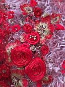 Embroidered 3D Applique Fabric Red w/ Gold Accents Intricate Design (DH77)